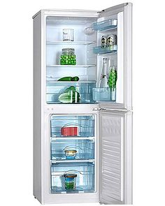 This brand new free standing fridge freezer comes with 2 years parts and labour warranty and is finished in pure white. Features manual controls and glass shelves. A+ rated energy efficiency.