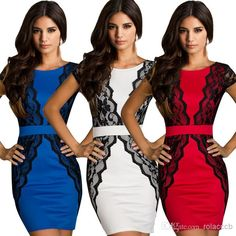 Red,White,Blue,Newest Women's Summer Lace Dresses V-Backless Bodycon Pencil Casual Dresses $19