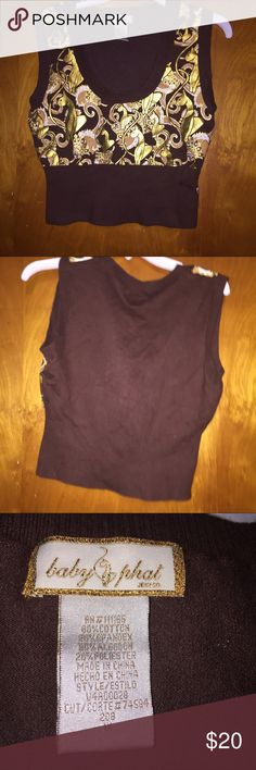 Baby phat brown gold sweater vest plus size 1x Baby phat brown gold sweater vest plus size 1x. Smoke free food condition. Baby Phat Sweaters