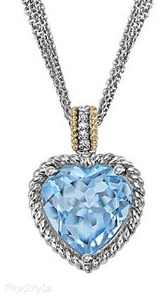 Modern Fairytale / Cinderella / Karen cox. Sparkling CZ Blue Topaz Heart Necklace