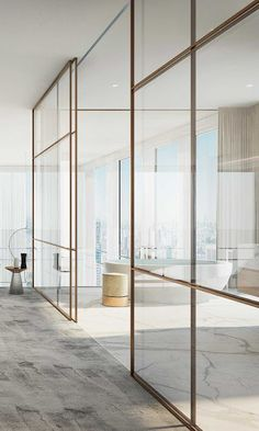 vosgesparis: A minimal bronze partition wall in a high end apartment Luxury Interior, Home Interior Design, Interior Architecture, Casa Kardashian, Glazed Walls, Bathroom Interior, Design Bathroom, Home Decor Accessories, Bridal Accessories