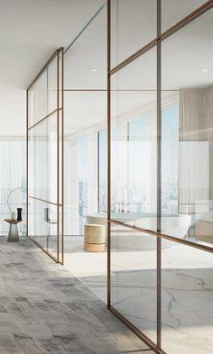 vosgesparis: A minimal bronze partition wall in a high end apartment Luxury Interior, Home Interior Design, Interior Architecture, Interior Decorating, Casa Kardashian, Glazed Walls, Bathroom Interior, Design Bathroom, Home Decor Accessories