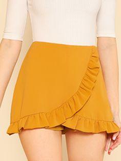 Ruffle Trim Overlap Mini Shorts 2018 Summer Ginger Zipper Fly Skirt Shorts Mid Waist Zipper Plain Women Shorts Ginger S Short Outfits, Outfits For Teens, Summer Outfits, Casual Outfits, Cute Outfits, Cute Skirts, Short Skirts, Short Dresses, Mini Shorts