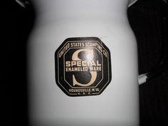 "LRG 1928 ""SPECIAL"" ENAMELED WARE MILK PITCHER U.S. STAMPING CO.MOUNDSVILLE. W.VA"