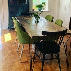 Your place to buy and sell all things handmade Farmhouse Dining Room Table, Dining Room Table Decor, Metal Dining Table, Dining Room Design, Fine Dining, Wood And Metal Desk, Wood Steel, Wood Desk, Wood Office Desk
