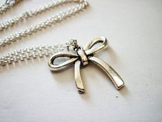 Silver Bow Necklace - bow jewelry - silver bow pendant by RobertaValle