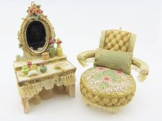 Dollhouse Vanity Dressing Table & Boudoir Chair Louis XVI Style Vanity and Chair 1:12 scale Furniture Bedroom Furniture Gifts For Her