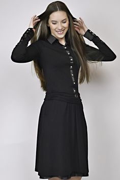 black dress, business look, elastic dress, management, reception Business Look, Reception, Management, Black, Dresses, Design, Fashion, Vestidos, Moda