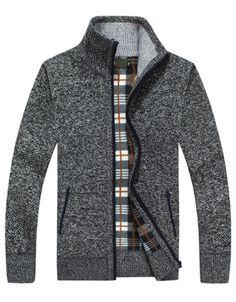 Fleece Lined Full-Zip Sweater Dark Gray