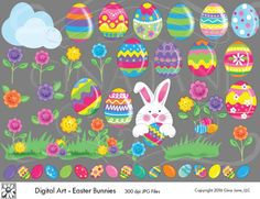 Clip Art of Easter Bunnies, Easter Eggs, Borders, Easter Flowers, Easter Grass and Labels, by Gina Jane DAISIE COMPANY: Clipart, Printables, Graphics, DIY Crafts for Kids, Parties, Candy Wrappers, by artist Gina Jane for DAISIECOMPANY