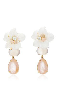 Brass 14K Gold Plated Carved White Agate Flower, Rose Quartz And Chalcedony Earrings