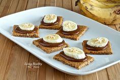 Paleo Graham Crackers Topped With Homemade Nutella & Bananas (grain, gluten, dairy, refined sugar free) by LivingHealthyWithChocolate.com