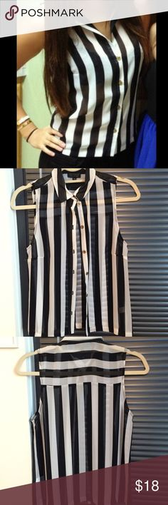 Topshop sheer black and white stripe silk top Excellent used condition black and white silk top from Topshop! Gold buttons. Size 4, fits like a small. So many ways to wear this top! Topshop Tops Button Down Shirts