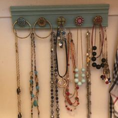 YOU CHOOSE Or 9 KNOBS Jewelry organizer This wall hung necklace holder makes beautiful girly jewelry storage & decor in pink and blue Diy Necklace Holder, Necklace Hanger, Jewelry Holder, Jewelry Rack, Gold Necklace, Jewelry Organizer Wall, Jewellery Storage, Jewelry Organization, Kitchen Organization