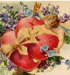 Cherubs Violets Vintage Valentine Image!