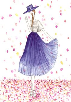 Alice and Olivia blue pleated skirt illustration