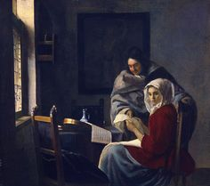 Girl Interrupted at Her Music, c.1658-59, by Johannes Vermeer (Dutch, 1632–1675).