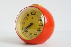Super Retro Orange Ball Alarm Clock Germany by vintagemoodsNL