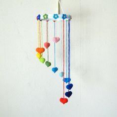 Rainbow Heart Mobile  Wall hanging Nursery mobile by UAmadeForYou