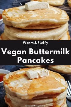 There aren't many breakfast dishes more classic than a warm, fluffy pancake. These perfect vegan buttermilk pancakes will take your tastebuds to cloud 9! #buttermilkpancakes #veganbuttermilkpancakes #pancakes Super Healthy Recipes, Delicious Vegan Recipes, Breakfast Dishes, Healthy Breakfast Recipes, Brunch Recipes, Yummy Food, Clean Breakfast, Pancake Recipes, Cheap Recipes