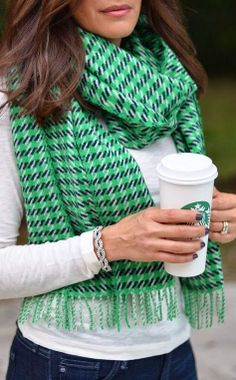 J. Crew wool houndstooth scarf.