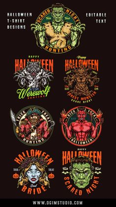 Colorful Halloween vector illustrations will be perfect for kids, Halloween clubs, t-shirts and other apparel producers, merchandise.