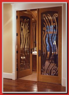 The custom glass in this alder door helps provide a little privacy and a lot of character to this in-home office entrance. - July 13 2019 at Blinds For French Doors, Interior Sliding French Doors, Black Interior Doors, Door Design Interior, Interior Design Elements, French Doors Patio, French Door Decor, Patio Door Curtains, Patio Doors