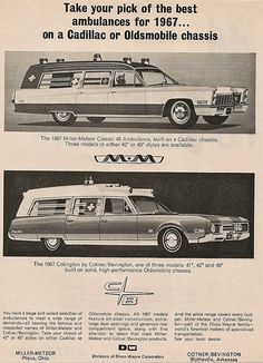 1967 Cadillac Oldsmobile ambulances by Miller-Meteor & Cotner/Bevington