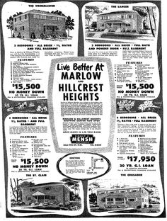 Marlow Heights and Hillcrest Heights Ad (1955).