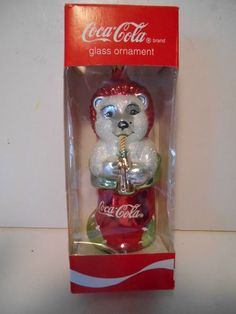 Coca Cola Christmas Ornament Glass Ornament Polar Bear in Stocking Drinking Coke | eBay