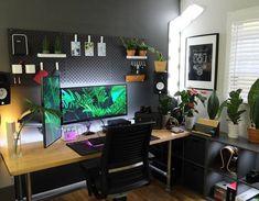 We've compiled the best office desk setup ideas, ergonomic desk setups, and gaming setup for you! All images were sourced. Computer Desk Setup, Cool Office Desk, Gaming Room Setup, Home Office Setup, Pc Setup, Home Office Space, Home Office Design, Computer Desk Organization, Best Ergonomic Office Chair