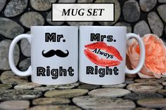 Mr Right Mrs Right mug,Mr and Mrs Right,bride and groom mug set,gift for couple,mugs fro couple,wedding mug,wedding gift,anniversary gift by HotTouch on Etsy