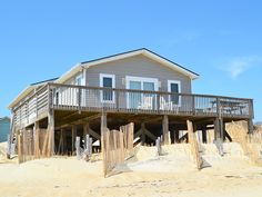 """""""Escape"""" to this cute and cozy oceanfront vacation home located in South Nags Head! This home is well-equipped and has wonderful ocean views. Relax on the deck by reading a book or sipping some coffee and enjoy the sounds of waves crashing against the sand. Located only 50' from the beach, this home is sure to make everyone in the family happy with its location. Only a short drive away to area attractions, restaurants and shopping, some of the many activities you will be able to enjoy while"""