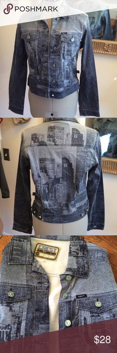 Crest Jeans jacket Jean jacket, thin, size M, really cool and fabulous C buttons by Crest Crest Jeans Co Jackets & Coats
