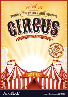 Vintage Circus Posters, Poster Vintage, Cirque Vintage, Retro Vintage, Vintage Summer, Circus Background, Circus Theme Cakes, Cartoon Clouds, Big Top