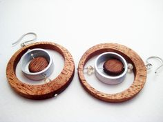 Wood Earrings, Modern, Unique, OOAK, lightweight with topaz and stainless steel earwire. $55.00, via Etsy.