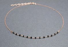 Check out this item in my Etsy shop https://www.etsy.com/listing/575845627/choker-rose-gold-chain-necklace-black