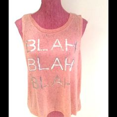NEW Self Esteem Top Knit Pink Blah Blah Sz L Brand New without tag Self Esteem Tops