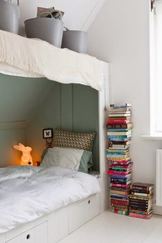 the boo and the boy: built-in kids' beds- love the bed with its light and its cozy atmosphere for a reading nook!