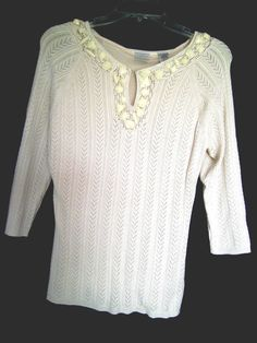 Emma James Beige Lacy Sweater Deep V Neck with Keyhole   3/4 Sleeves Size Med. #EmmaJames #Keyhole #Work