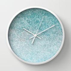 Polygonal A3 Wall Clock  #polygonal, #polygons , #nodes, #vectors, #abstract, #blue, #wallclock
