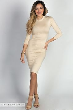 """Alva"" Nude 3/4 Sleeve Jersey Bodycon Turtleneck Midi Dress"
