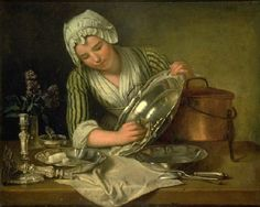 """""""La Récureuse"""" (a scrubber) by André Bouys (1737) at the Musée des Arts Décoratifs, Paris - It must have been a hard job being a domestic servant cleaning up after one's aristocratic employers.  Just doing the dishes alone would have been a challenge - delicate and priceless pieces of silverware and fine porcelain were polished or washed entirely by hand without the slightest scratch.  No wonder food historian Ivan Day has said they would have needed almost """"curatorial"""" hands."""