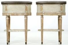 Pair of Swedish Gustavian Painted Planter Side Tables, Early 19th Century | From a unique collection of antique and modern side tables at https://www.1stdibs.com/furniture/tables/side-tables/