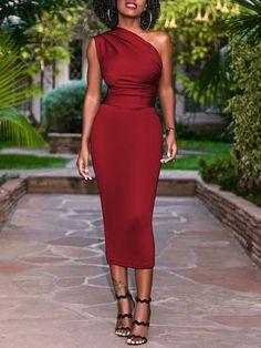 One Shoulder Elegant Slim Dress – Tomscloth Sexy Dresses, Beautiful Dresses, Evening Dresses, Fashion Dresses, Formal Dresses, Classy Dress, Classy Outfits, Elegant Dresses Classy, Look Fashion