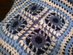 variation of a crochet granny square, work in progress for a nautical themed cushion cover, using Stylecraft Special DK yarn