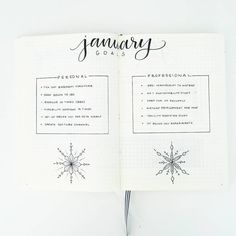 Bullet journal monthly goal setting, bullet journal monthly goal tracker, categorized goals, Winter drawings, snowflake drawing.   @bonjournal_