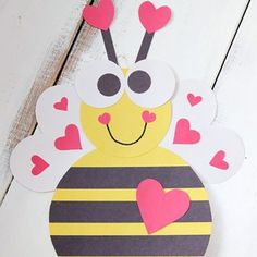 Buzzy Bumble Bee Valentine - From classroom activities to handmade Valentines to play at home kids will love to make these 18 super cute DIY craft projects. Each of these Valentine crafts is easy enough for most ages to enjoy making. #valentinesday #kidscrafts #diyvalentines #crafts #valentine #valentinecrafts #valentinesdaycrafts #craftsforkids
