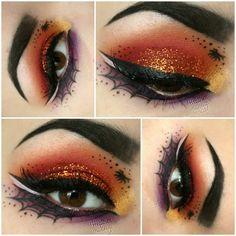 Spooky Halloween eye make up idea Halloween Eyeshadow, Cool Halloween Makeup, Halloween Kostüm, Pretty Halloween, Meme Costume, Costume Makeup, Eye Makeup Art, Makeup Eyeshadow, Scary Makeup