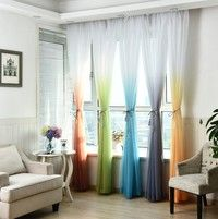 Wish | Romantic Gradient Tulle Voile Window Curtains for Living Room Bedroom Drapes Home Decor